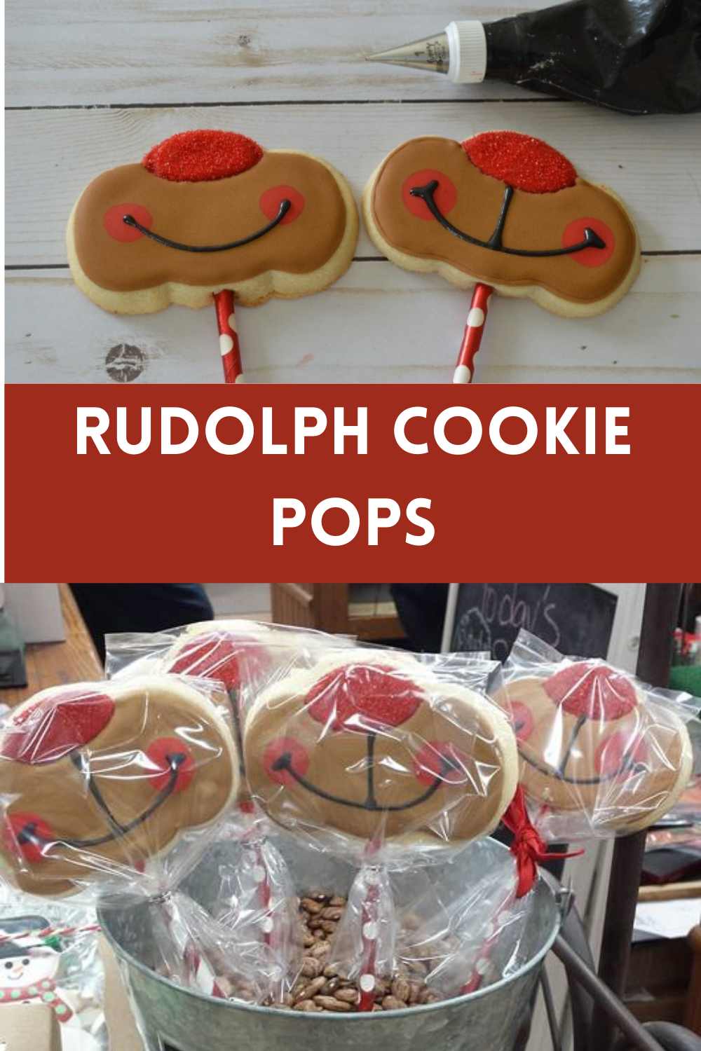 Rudolph cookie pops pin
