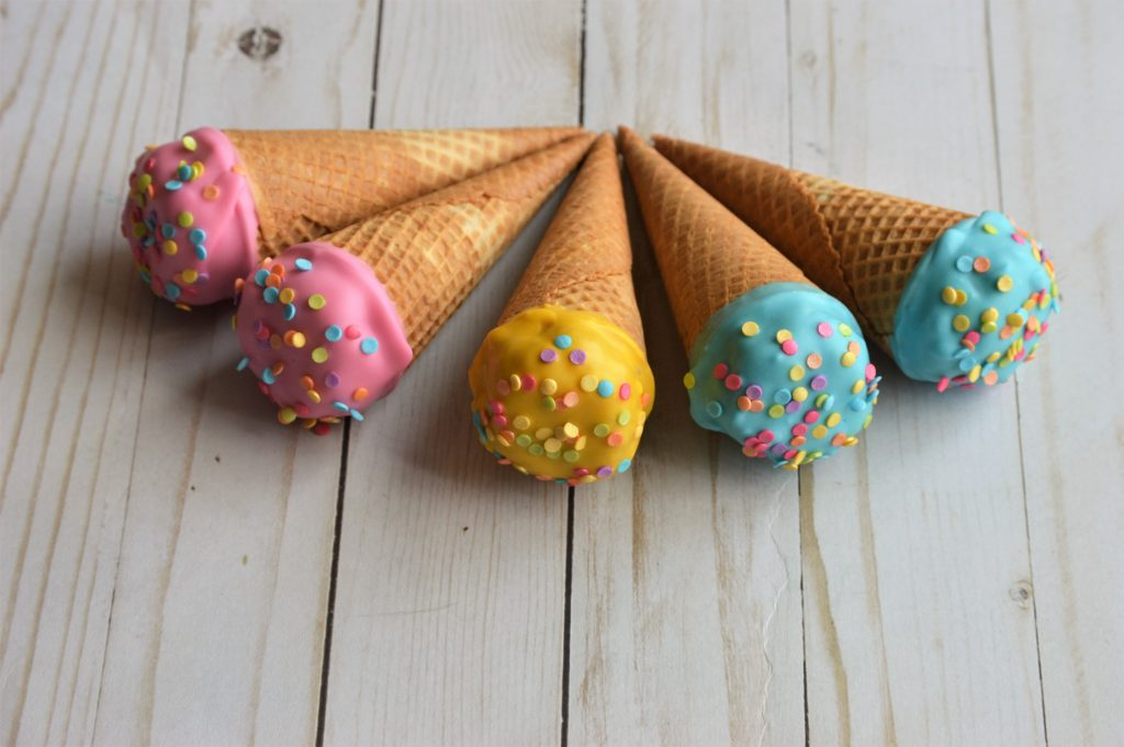 a picture of ice cream cone cake pops