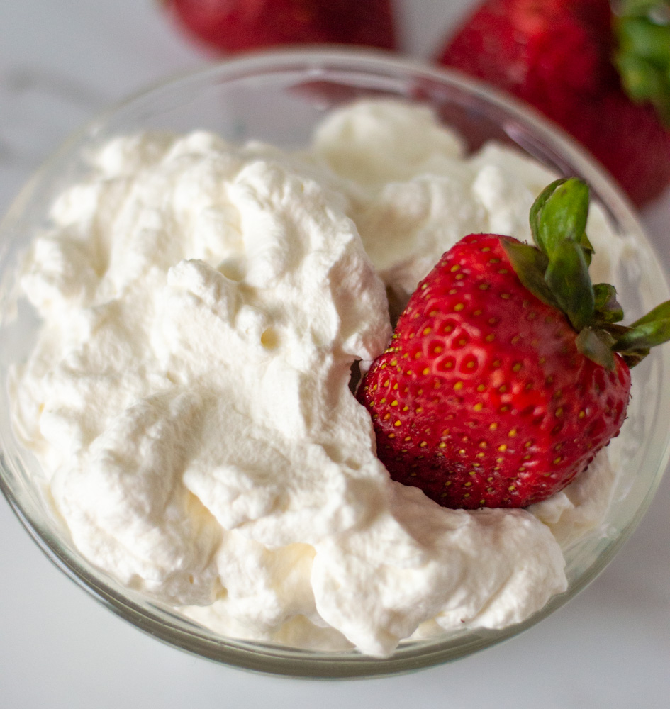 whipped cream with strawberries