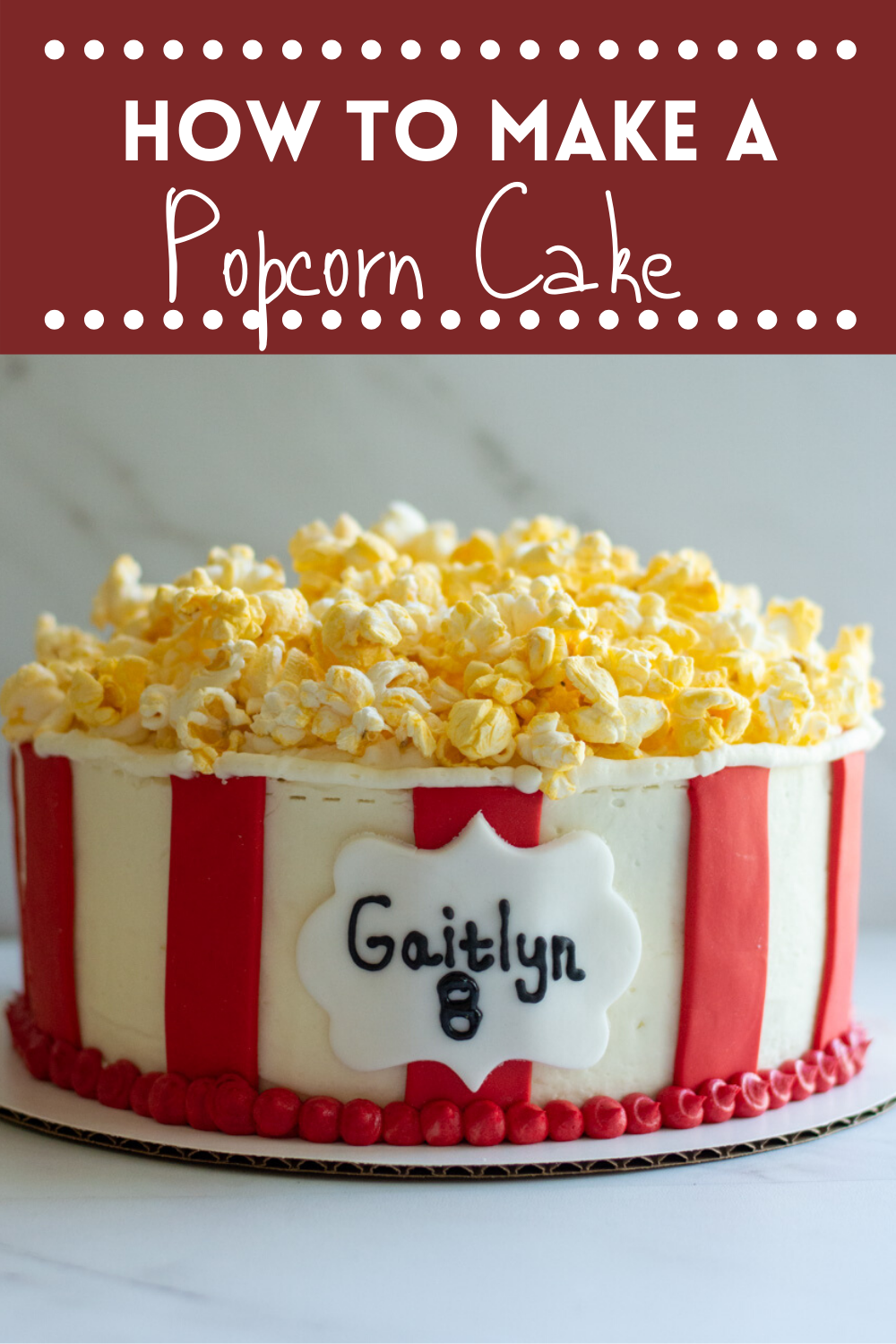 how to make a popcorn cake pin