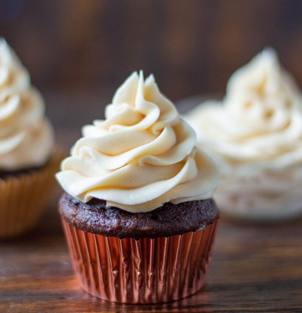 salted caramel buttercream on a chocolate cupcake